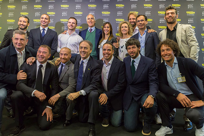 A group of Olympic medal winners and footballers supporting Technogym